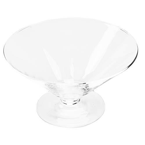 Ronde glazen schaal kegel groot hoogte 12 cm ø 22 cm. Platte kegelvormige glazen schaal op voet, decoratieve schaal in helder glas van Glaskönig