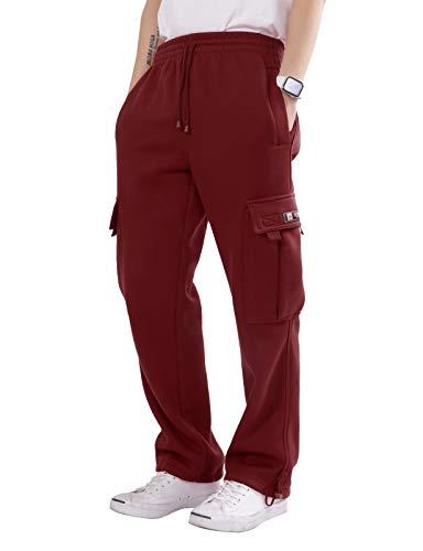 Men's Heavyweight Fleece Cargo Sweatpants 6XL Burgundy