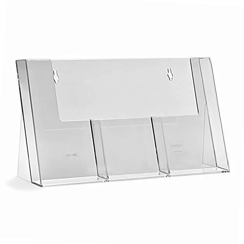taymar® Tisch-Prospekthalter/Flyerständer mit 3 Fächern für DIN Lang (DL), Transparent