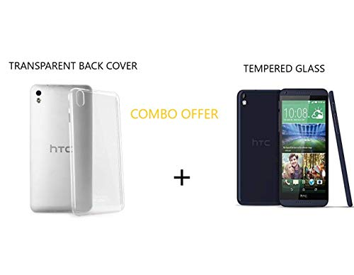 Transparent Back Cover and Tempered Glass (Combo Pack) for HTC 816