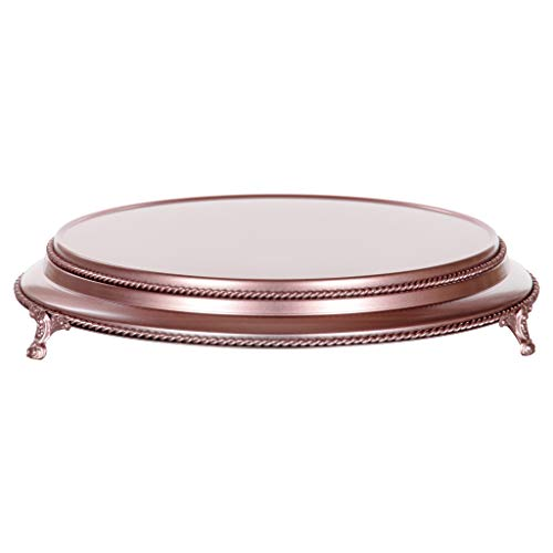 Shiny Gloss Round... 30,5 Centimeters Rose Gold Plated Mirror Top Cake Stand