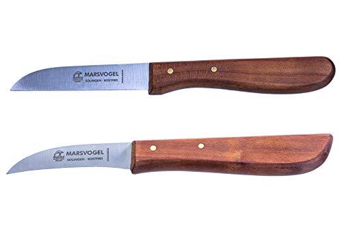 2 x Küchenmesser, rostfrei, sehr scharf, 1 x gerade + 1 x gebogene Klinge, Kirschbaum-Holzgriff, Marsvogel Solingen