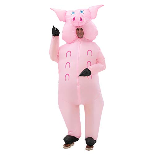 Inflatable Pig Costume Full Body Suit Pink Pig Costumes Air Blow up Suit party dress Halloween and Christmas Cosplay Adult Size…