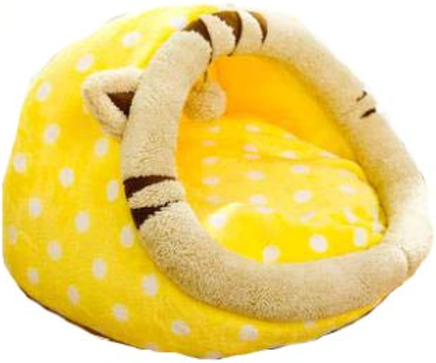 Plush Cat Bed, Warm, Cozy and Durable Cat Bed, Suitable for Large Cats and Kittens(36cm35cm26cm,Yellow)