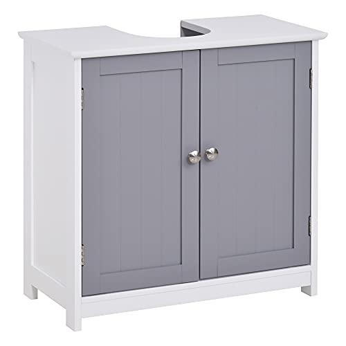 kleankin Waschbeckenunterschrank Badezimmerschrank Waschtischunterschrank mit 2 Türen Regal verstellbar MDF Weiß+Grau 60 x 30 x 60 cm