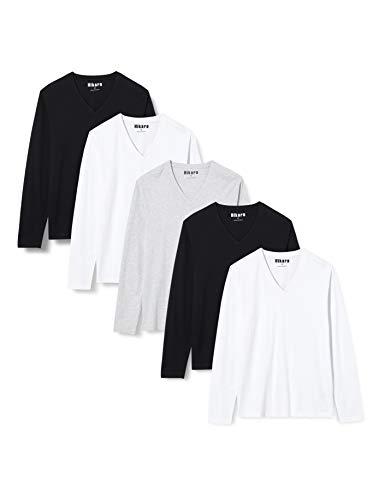 HIKARO AF-M-JR 036 T-Shirts, Mehrfarbig (Schwarz/Weiß/Grau), 40, 5er-Pack