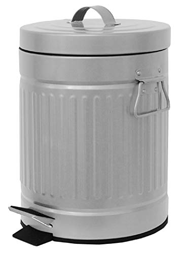 Elaine Karen Deluxe Galvanized Steel Step Foot Pedal Retro Garbage Trash Can – 5 Liter - Silver