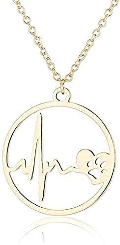 zxcdsaqwe Co.,ltd Collar de Acero Inoxidable Collar de Pata de Perro Perro Corgi Colgante de Latido del corazón U0026 Collares Gargantilla círculo Regalos para Amantes de Las Mascotas