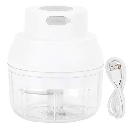 Asixxsix Mini Hachoir à ail électrique, Hachoir électrique de broyeur d ail de 100 ML, pour tranches de légumes Viande ou Hachoir, mélangeur ail Poivre(White)