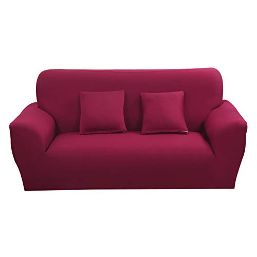 Hotniu 1-Stück Elastisch Sofaüberwurf, Sofaüberzug Polyester, Sofahusse Sofa Abdeckung Stretch, Sofabezug für Sofa, Couch, Sessel zum Schutz, mehrere Farben (2 Sitzer 135-170cm, Weinrot)