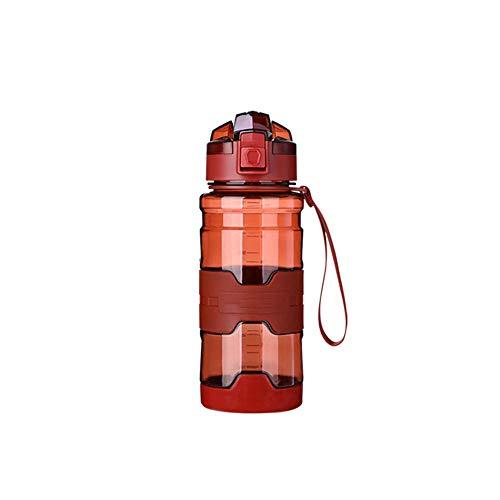 Jusemao Botella deportiva antideslizante anti-caída Copa espacial con cubierta de rebote botella de agua portátil 500ml-rojo_500ML