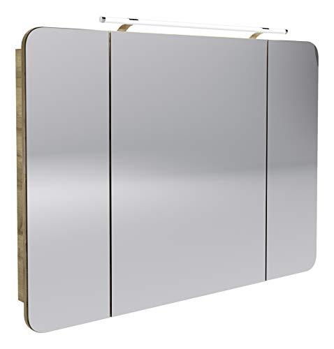 FACKELMANN LED Spiegelschrank Milano/Badschrank mit 3D Effekt/Soft-Close/Maße (B x H x T): ca. 110 x 78 x 15,5 cm/Schrank mit Spiegel & LED-Beleuchtung fürs Bad / 3 Türen/Korpus: Braun hell