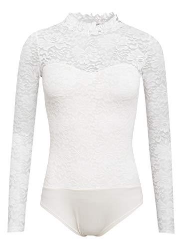 Hangowear Damen Trachten-Mode Blusenbody Filiz in Weiss traditionell, Größe:M, Farbe:Weiß