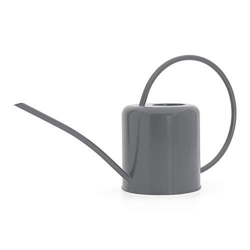 CKB LTD® Regadera para interiores de 1,4 L, acero galvanizado con recubrimiento en polvo, para plantas de interior, diseño contemporáneo de metal con boquilla estrecha y mango alto (gris carbón)