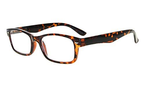Kunststoff Fassung Lesebrille mit Federscharniere in Schildplatten mit Brillenetui +1.50