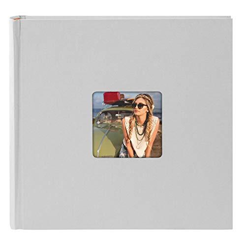 goldbuch 31098 Fotoalbum Living, Erinnerungsalbum mit Bildausschnitt, Fotobuch mit 100 cremeweißen Seiten mit Pergamin Trennblätter, Foto Album zum Einkleben in Leinenoptik, ca. 30x30 cm, Grau