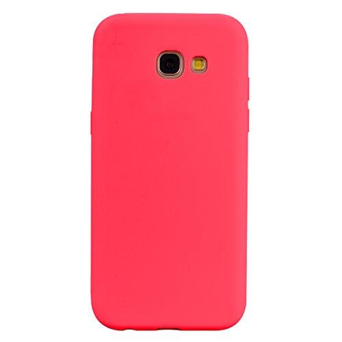 cuzz Custodia Samsung Galaxy A5 2017+{Film di Vetro temperato}Silicone TPU Cover Morbida Protettiva Custodia Ultra Sottile Leggero Cover-Rosso