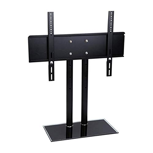 TabloKanvas Soporte Giratorio Universal para TV/Base-Soporte para TV de Escritorio-Altura Ajustable con Base de Vidrio Templado (Color : Black)