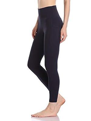 Colorfulkoala Women's High Waisted Yoga Pants 7/8 Length Leggings with Pockets (S, Navy)