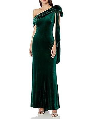 Tadashi Shoji Women's ONE Shldr Velvet Gown W/Bow Detail, Eucalyptus, M