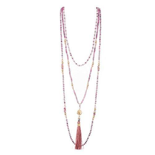 Belle Miss – Collar largo de fantasía para mujer, estilo chic y de moda, de resina, imitación de piedra y pompón morado, joya de diseño ideal para regalo de cumpleaños