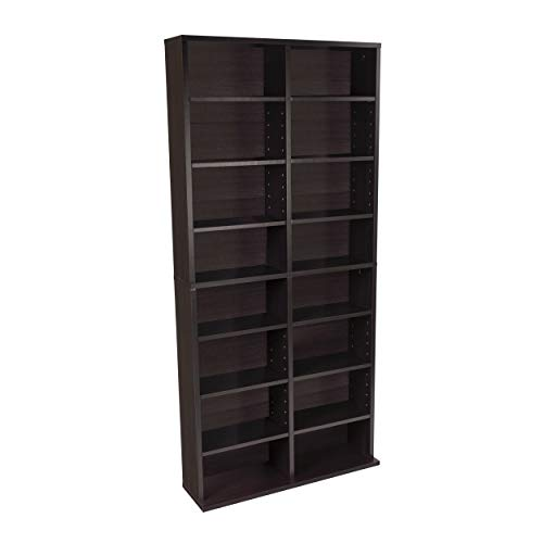 Atlantic Oskar Adjustable Media Cabinet - Holds 464 CDs, 228 DVDs or 276 Blu-rays, 12 Adjustable and 4 fixed shelves PN38435719 in Espresso