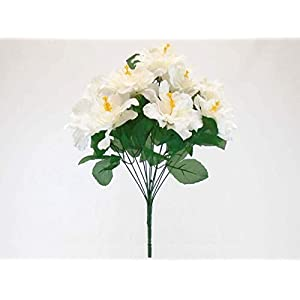 Cream Hibiscus Bush 12 Artificial Flowers 20″ Bouquet -Artificial Plants & Flowers-Artificial Flowers–Wedding Decorations-Flowers-Poinsettia Flowers Artificial-Flower Wall