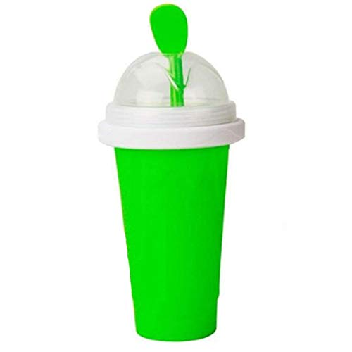 Slushy Maker Ice Cup Travel Portable Double Layer Silica Cup Pinch Cup Hot Summer Cooler Smoothie Silicon Cup Pinch into Ice Children's Adult Slushy Ice Cup