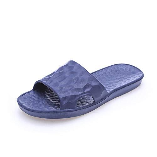 quming Verano Zapatillas Pantuflas Playa Hombre Y Mujer,Inicio Sandalias Simples, baño Zapatillas Antideslizantes de Fondo Suave-Azul Oscuro_44 / 45
