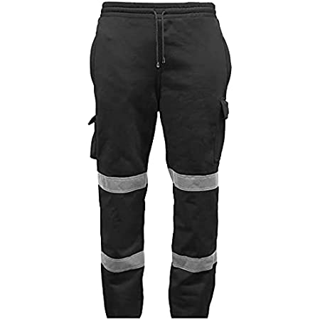 GA COMMUNICATIONS HI VIZ VIS Jogging Bottoms Work WEAR Safety Trousers Fleece Joggers Sweat Pants[Black,S]