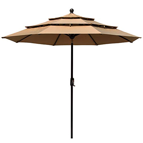 EliteShade Sunbrella 9Ft 3 Tiers Market Umbrella Patio Outdoor Table Umbrella with Ventilation and 5 Years Non-Fading Top,Heather Beige