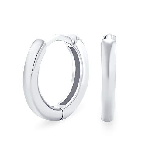 Simple básico delgado plano Huggie aro Kpop pendientes para las mujeres para los hombres bisagra pulido 925 plata de ley