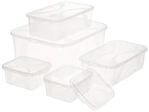 Amazon Basics – Cajas de plástico con tapa para almacenaje, conjunto de...