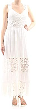 Free People Womens Lace Inset Empire Maxi Dress White 2