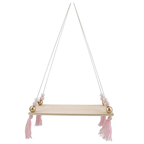 EVTSCAN Rope Hanging Floating Shelves, Wall Hanging Rope Shelves for Living Room, Bedroom, Bathroom and KitchenQ(Pink + Gold)