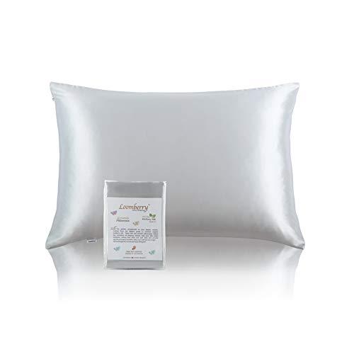 OOMBERRY - Funda de almohada de seda pura 100% natural para cabello y piel (1 pieza) ambos lados 22 Momme grado más alto 6A con cremallera oculta, naturalmente hipoalergénico (Plateado, King 50x90CM)