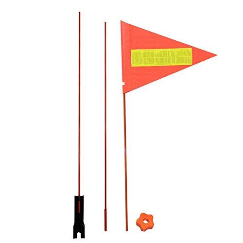 QUUY - Banderín de seguridad para bicicleta infantil, bandera triangular, alta visibilidad, fibra de vidrio, con tiras reflectantes y herrajes