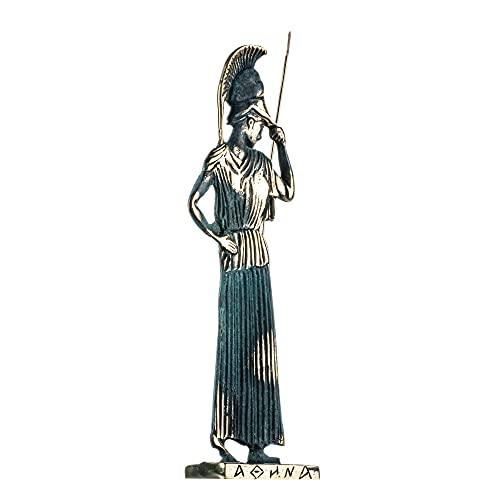 Athena Minerva con Javelin Diosa de la Sabiduría - Estatua hecha a mano de bronce macizo de 10,8 pulgadas
