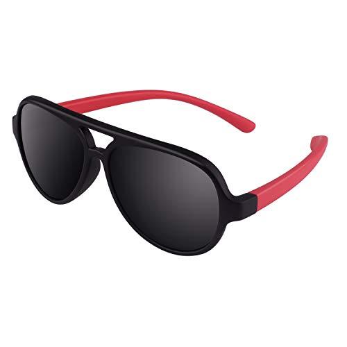 CGID Gummi Flexible Kinder Polarisierte Fliegerbrille Pilotenbrille für Baby und Kinder im Alter von 3-6, K93,Schwarz Rot