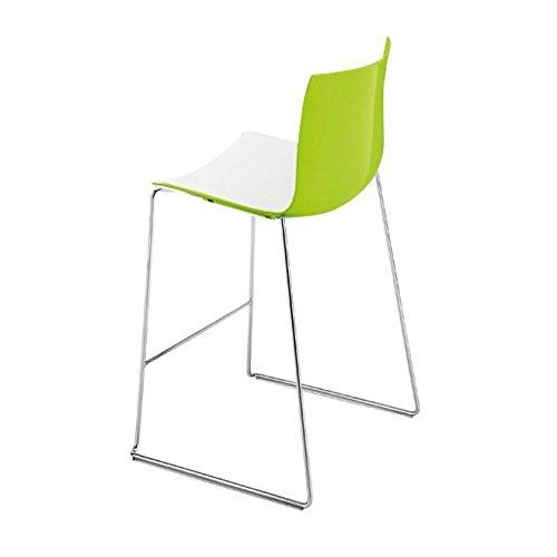 Catifa 46 0474 Barhocker niedrig zweifarbig Chrom, weiß grün Außenschale glänzend innen matt Gestell verchromt Sitzhöhe 64cm