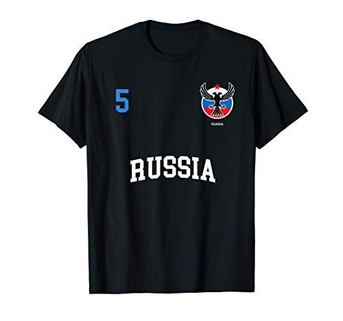 Squadra Calcio Russia Numero 5 Bandiera Russo Maglietta