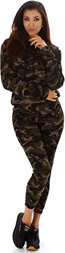 Jela London Damen Trainingsanzug Jogginganzug Stretch Hausanzug Kapuzen-Pullover, Military Camouflage Flecktarn, Schwarz 34-38 (S/M)