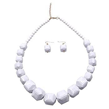 5 Colors Acrylic Beads Statement Strand Necklaces  White