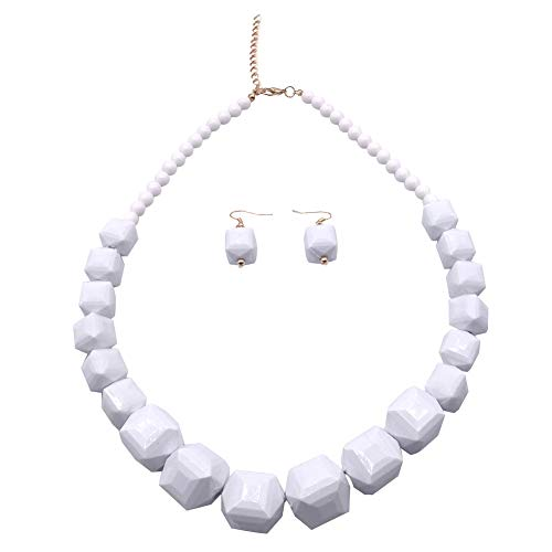 5 Colors Acrylic Beads Statement Strand Necklaces (White)