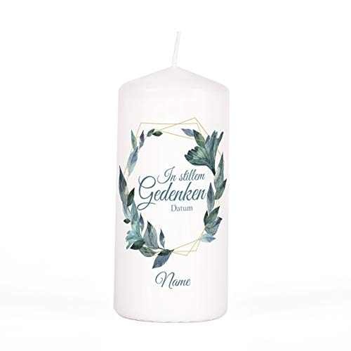private grief Trauerlicht Kerze mit Namen des Verstorbenen und Lebensdaten Blätterrahmen