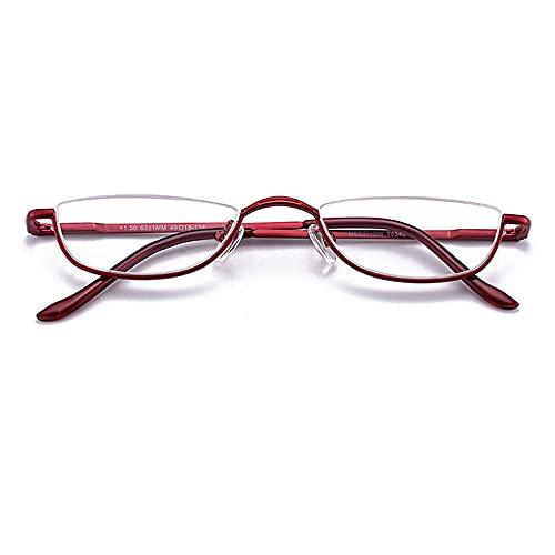Reading Glasses Gafas de Lectura de Acero Inoxidable de Medio Marco, antifatiga y fáciles de Transportar, adecuadas para Hombres y Mujeres de Mediana Edad y Ancianos, Rojo