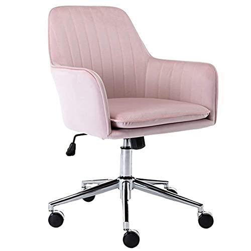 N\C YASA Home - Silla de escritorio de terciopelo con respaldo medio, silla de oficina tapizada ergonómica, altura giratoria, ajustable con brazos, para adultos, estudio, dormitorio, familia