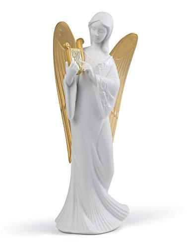 LLADRÓ Celestial Melody Angel Christmas Ornament. Golden Lustre. Porcelain Tree Topper Christmas.
