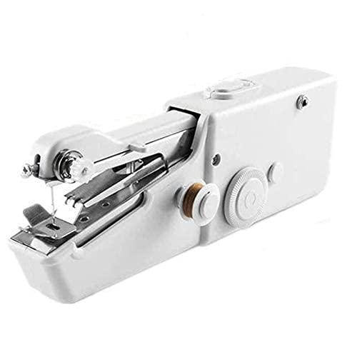 WH-ENTER Máquina de Coser de Mano, Mini máquina de Coser eléctrica de Mano inalámbrica portátil con Kit de Hilo, Puntada rápida y práctica para Uso doméstico o de Viaje (Color : White)