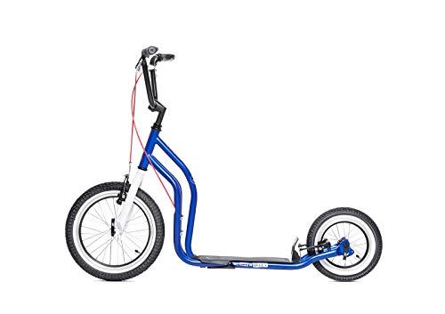 Yedoo London Tretroller - ab 140 cm Körperhöhe, bis 120 kg, mit Luftreifen 16/12 - Cityroller für Erwachsene und Kinder mit verstellbaren Lenker und Ständer (blau)